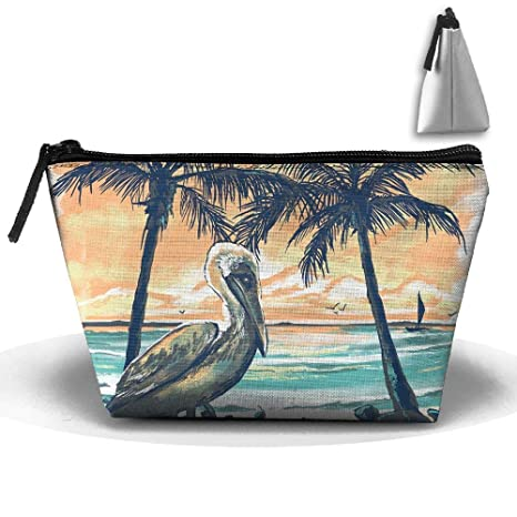 Pelican Sunset Print Waterproof Trapezoidal Bag Cosmetic ...