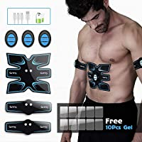 AB Stimulator EMS Portable Rechargeable Gym Home Office Fitness Equipment for Abdomen/Arm/Leg, Muscle Trainer Fat Burner ABS Stimulator Muscle Toner for Men Women (free 10pcs gel sheets)