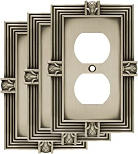 Franklin Brass W10274V-BSP-R Pineapple Single Duplex Outlet Wall Switch Plate/Cover, 3-Pack, Brushed Satin Pewter