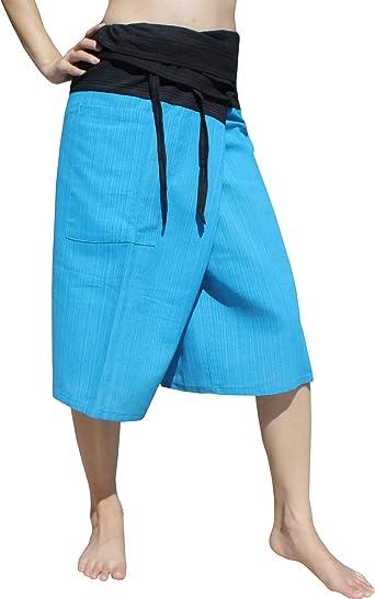 RaanPahMuang Thin Striped Cotton Two Tone Fisherman Capri Wrap Pants