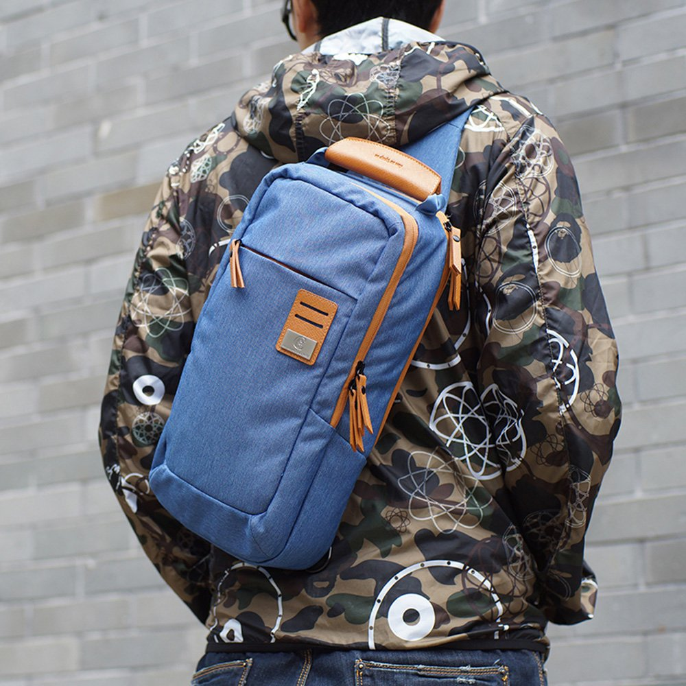 dpark new group series Water-Resistant Canvas/& PU Sling Chest Shoulder Bag Pack Small Crossbody Backpacks Portable Sport Pack Travel Backpack for Men Women Child