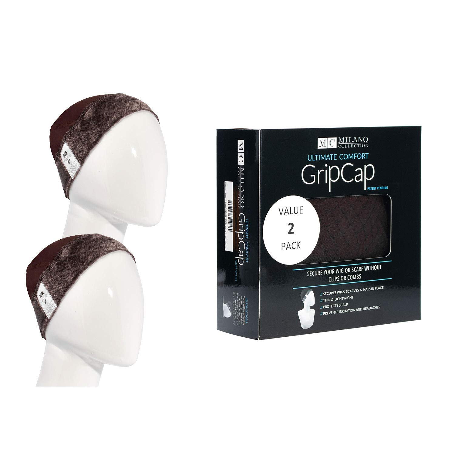 Milano Collection Wig GripCap Value 2 Pack Comfortable, Absorbent Wig Cap with Built-in Wigrip (Brown) by MILANO COLLECTION
