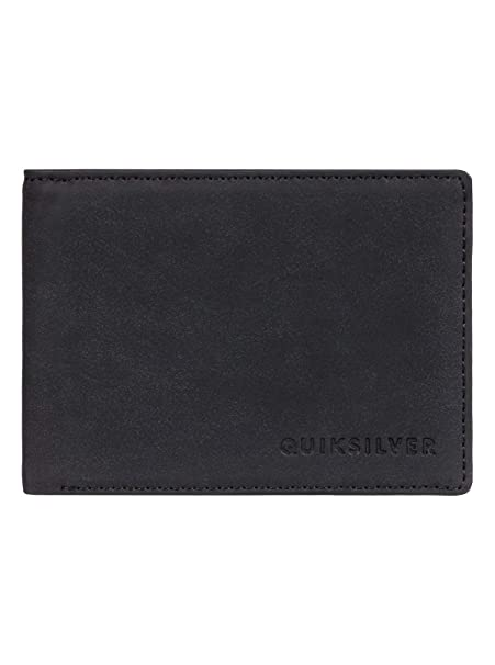 New Quiksilver Slim Vintage Faux Leather Bi-Fold Zip Wallet
