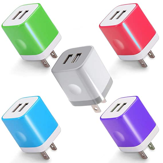 newest df30c aa78a USB Charger, Certified 2.1Amp 2-PORT Wall Charger Power Adapter Charging  Block Cube for iPhone X 8 7 6 Plus 5S, iPad, Samsung Galaxy S8 S7 S6 Edge,  ...