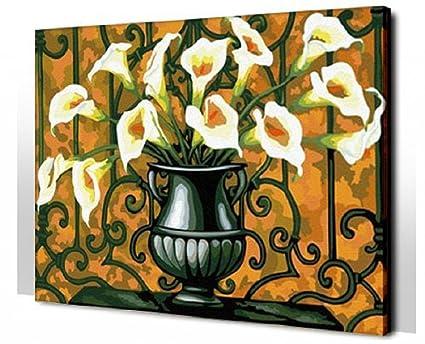 Flores En Jarrones Calla De Diy Pintura Por Número Kits Pintado