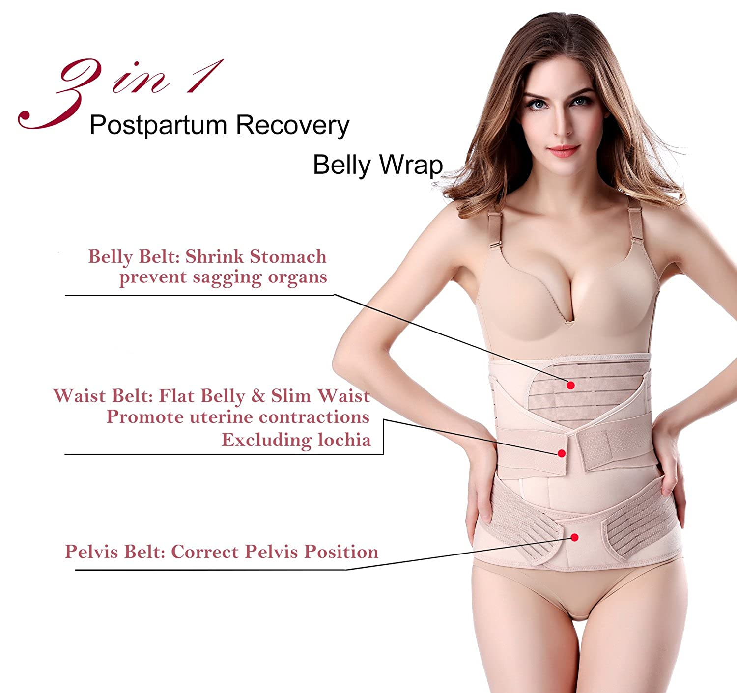 6dd99b0993 3 in 1 Postpartum Support - Recovery Belly Wrap Waist Belt Girdles C  section Shapewear  Amazon.co.uk  Clothing