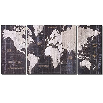 Amazon Com Old World Map Blue Pictures Modern Giclee Canvas Prints