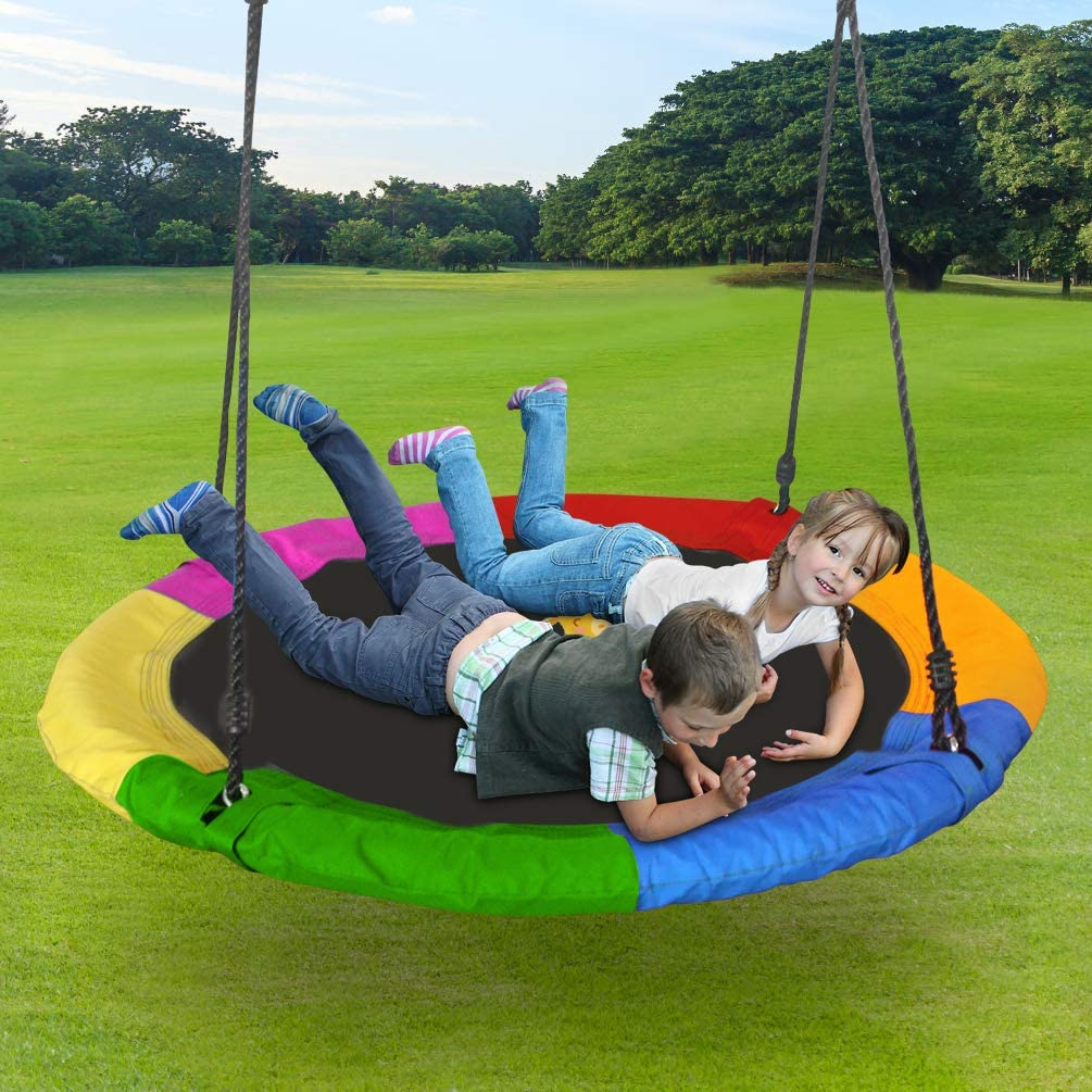 Lovely Snail Tree Swing 40 Inch Outdoor Large Round Saucer Swing Platform for Kids Adults with Flags Adjustable Ropes for Backyard Playground Swingset, 400 Lbs: Toys & Games