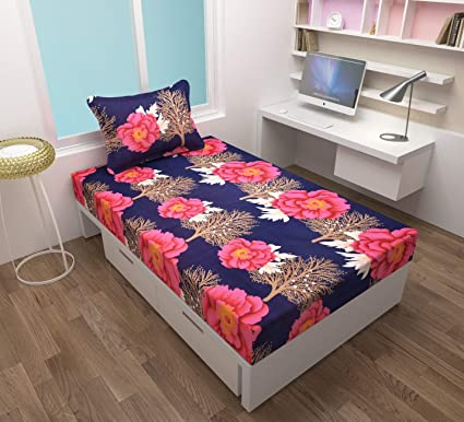 Dinny3D Printed Single Bedsheet with 1 Pillow Covers