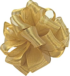 product image for Offray Wired Edge Magic Wand Metallic Sheer Craft Ribbon, 7/8-Inch Wide by 50-Yard Spool, Gold