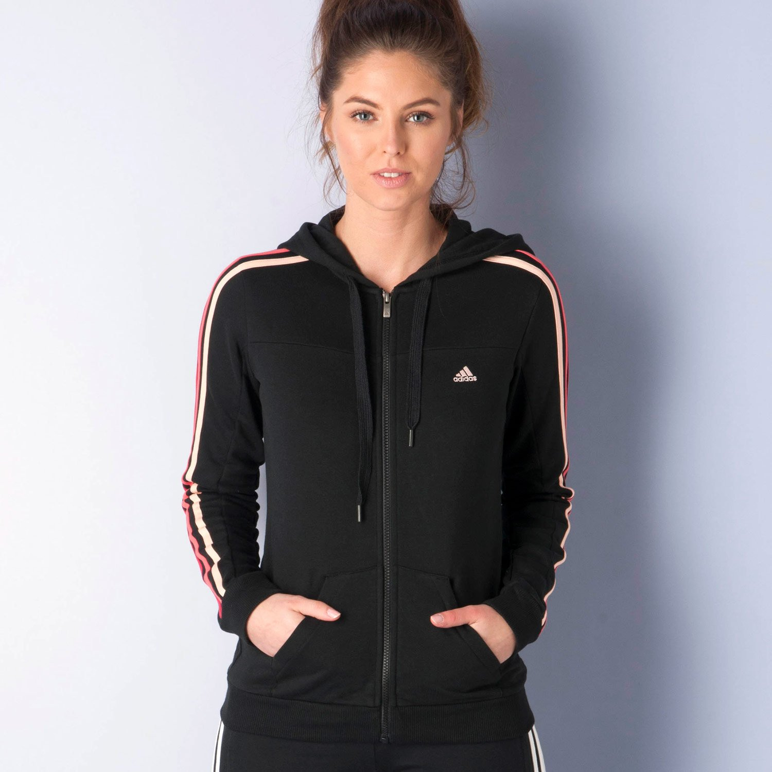 adidas Adidas Womens Hooded Top Essential 3 Stripe Hoodie Ladies Track Top Full Zip Hooded Sweatshir...