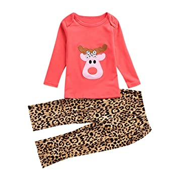 4fc0e686f Christmas Toddler Kids Clothes,Baby Girls Long Sleeves Deer Print T-shirt  and Leopard