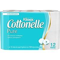 Kleenex Cottonelle Pure, Papel Higiénico, 12 Piezas Con 180 Hojas C/U