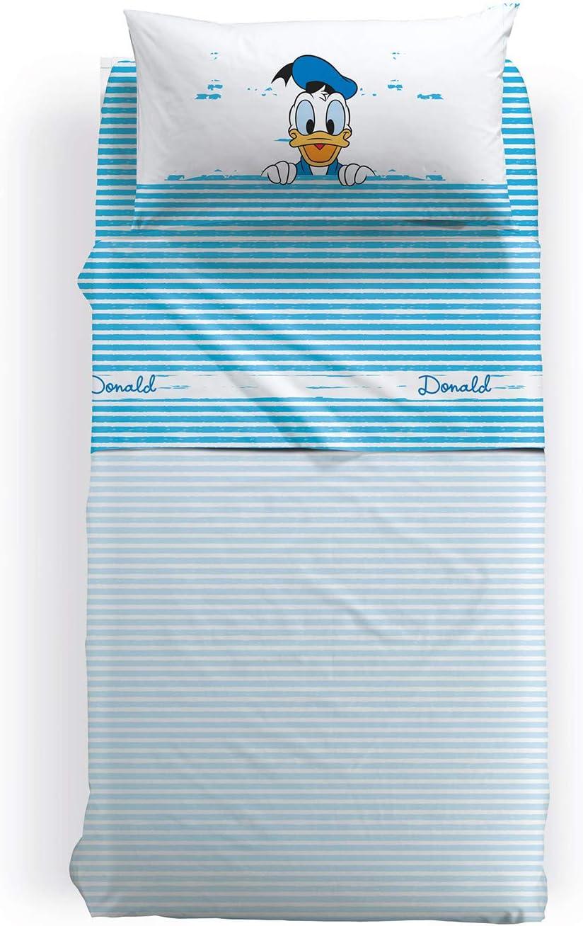 Disney Completo Lenzuola Singolo Paperino in Cotone Unica