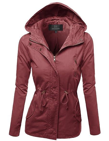 Awesome21 Women's Hooded Drawstring Military Jacket Parka Coat ...