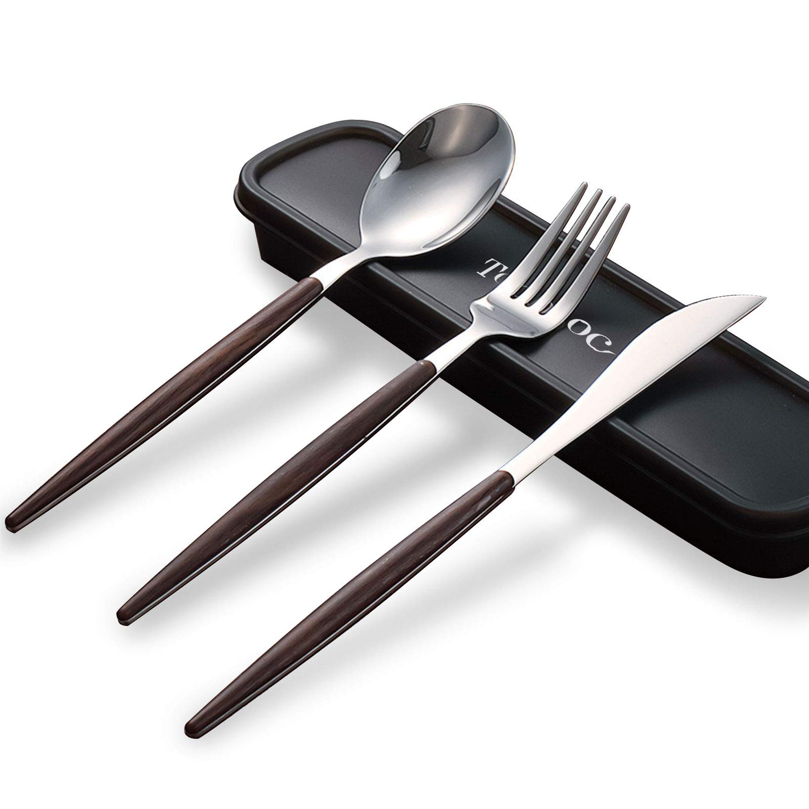 2 sets Wood Handle Flatware Sets Knife Fork Spoon Stainless Steel & Wanut Wood Flatware Set Portable Travel Silverware Dinnerware Set with a Organizer box (2 sets)