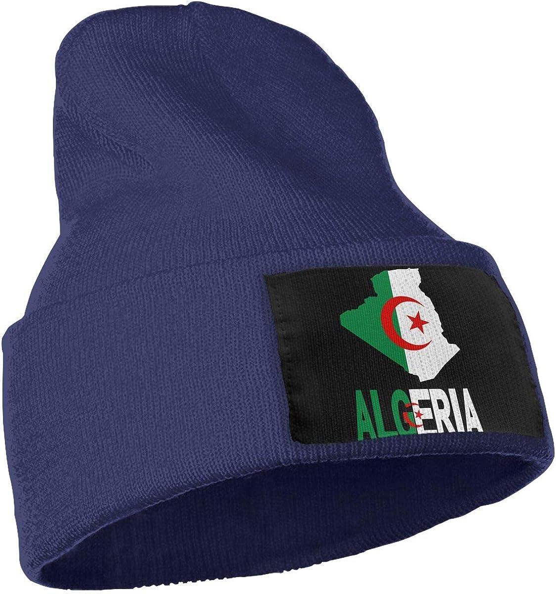 Algeria Map Flag and Text Men /& Women Knitting Hats Stretchy /& Soft Ski Cap Beanie