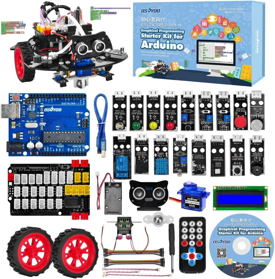 OSOYOO Graphical Programming Robot Car Starter Kit for Arduino Uno | Remote Controlled Stem Mechanical Motorized Robotics for Building Learning How to Code | Educational Coding for Kids Teens Adults: Amazon.es: Informática