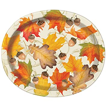 Gold Fall Leaves Thanksgiving Oval Paper Plates 8ct  sc 1 st  Amazon.com & Amazon.com: Gold Fall Leaves Thanksgiving Oval Paper Plates 8ct ...