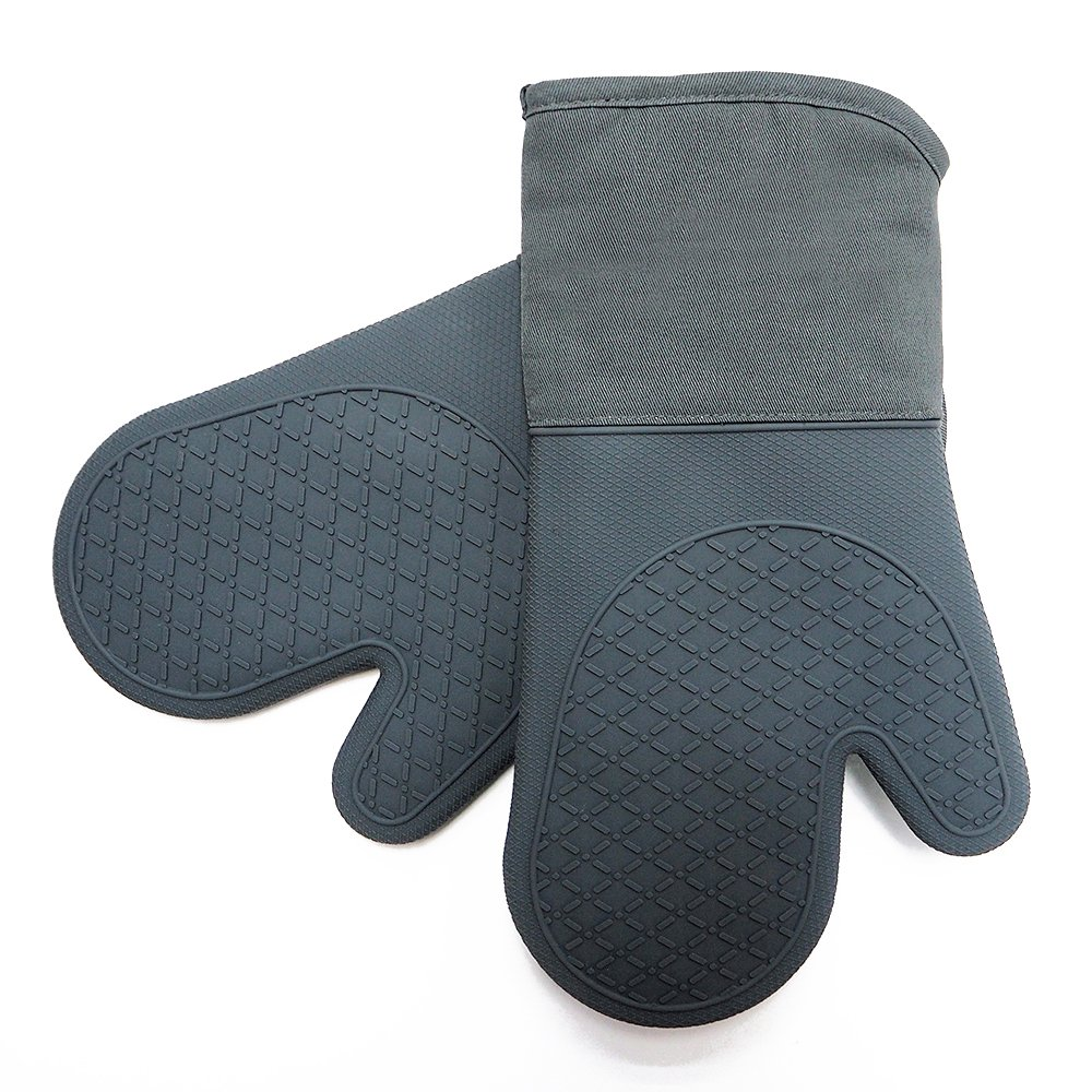 Heat Resistant Kitchen Oven Mitts 500 Degrees With Non-Slip Silicone Printed Set of 2 Oven Gloves for BBQ Cooking set Baking Grilling Barbecue Microwave Machine Washable Women and Man (Grey, Full)