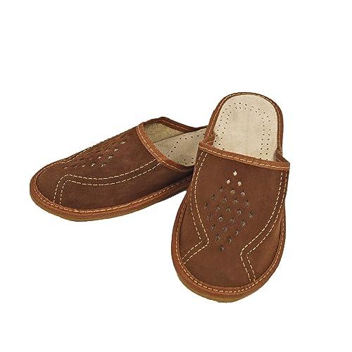 DF SOFT Herren Herrenpantoffel Pantoffel Hausschuhe Haus Schuhe Leder Pantoffel Lederpantoffel Pantoletten Herren Schlappen Herren Modell 64