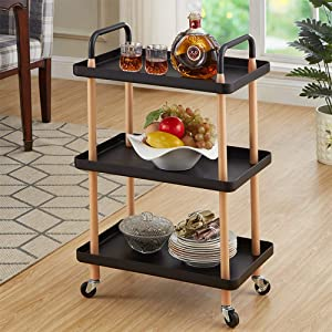 johgee 3 Tier Rolling Cart Utility Organizer Rolling Cart Multi-Function Storage Trolley with Handle and Lockable Wheels for Home Kitchen Bathroom Living Room Office Salon (Black)