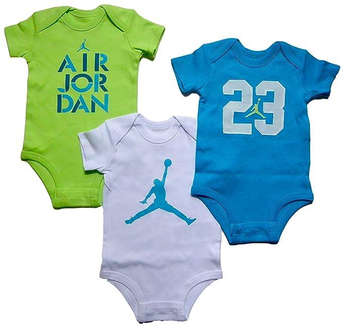 38c330e55b2 Amazon.com  Nike Air Jordan Baby Boys  3 Pack Short Sleeve Bodysuits ...