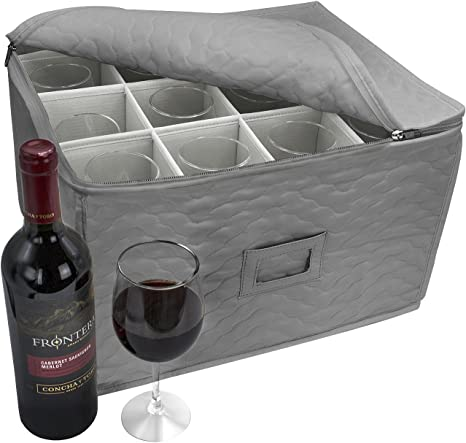 Use as Portable Travel Carrier Case Gleur Quilted Storage Container for Crystal Glass Stemware With Dividers to Fit Drinking Glassware Champagne Flute Moving Boxes Wine Glasses Set of 12