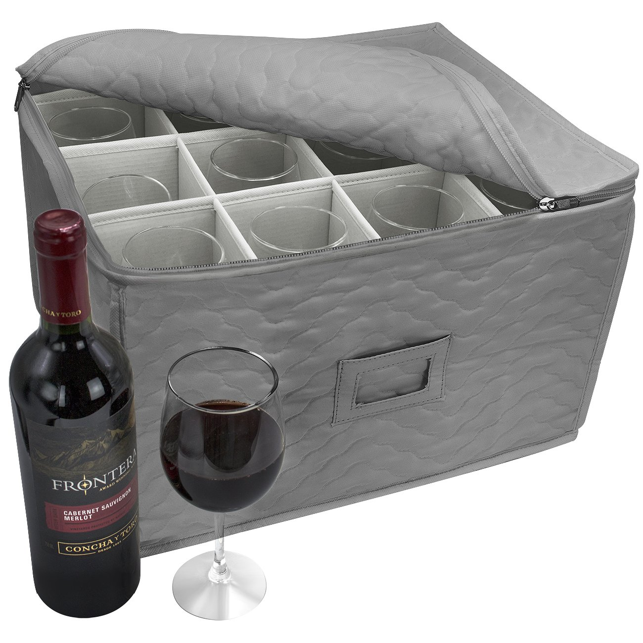 Sorbus Stemware Storage Chest - Deluxe Quilted Case with Dividers - Service for 12 - Great for Protecting or Transporting Wine Glasses, Champagne Flutes, Goblets, and more (Gray)