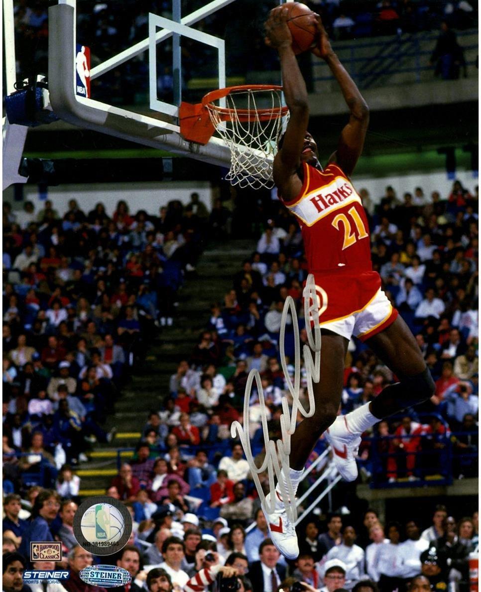 Steiner Sports NBA Atlanta Hawks Dominique Wilkins Signed Reverse Dunk 8x10 Photo
