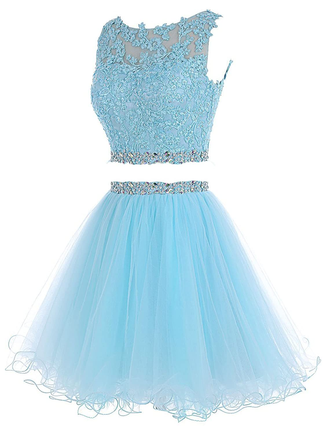 Amazon.com: Short Two Pieces Homecoming Dresses Jeweled Tulle A Line ...