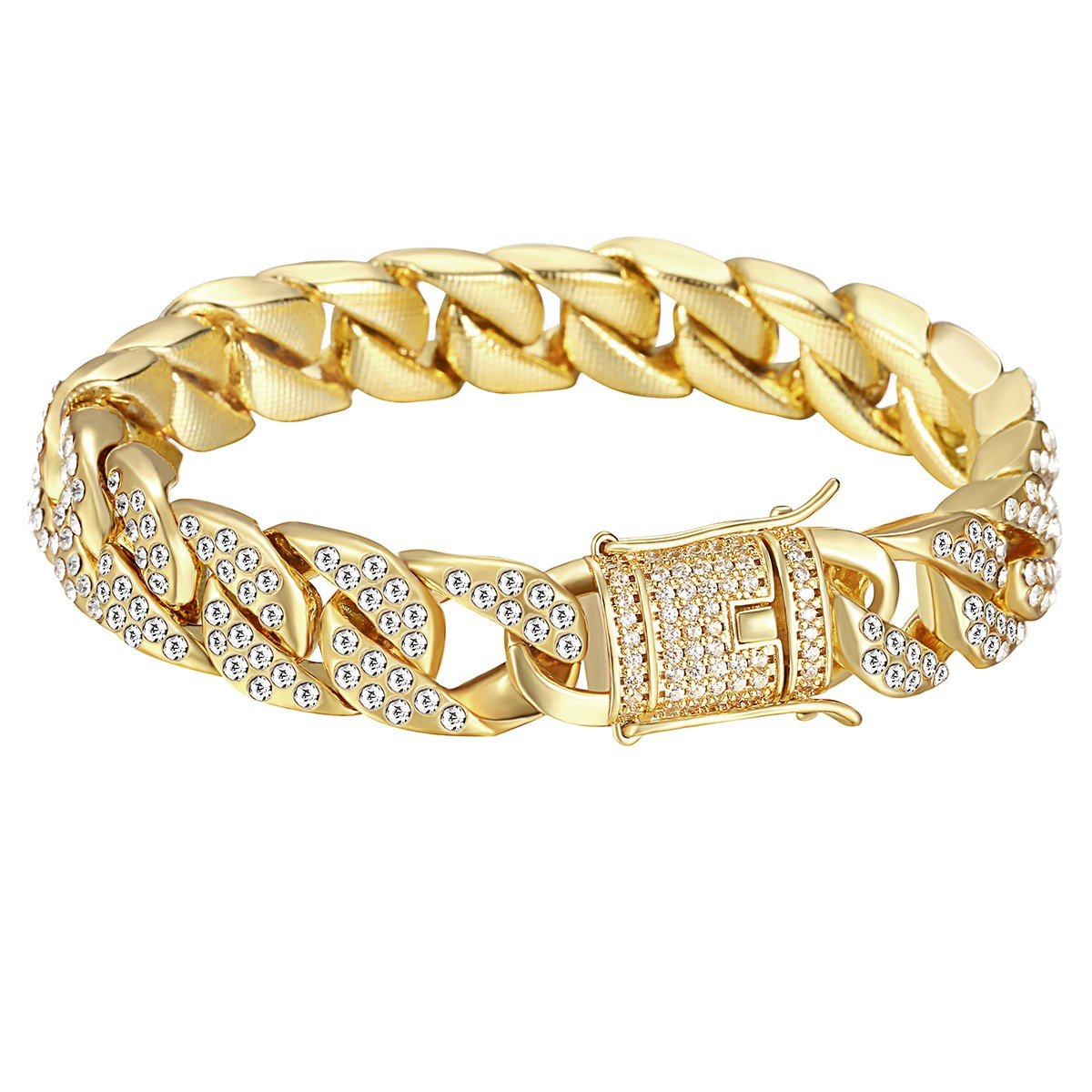 Davieslee Mens Womens Chain Hiphop Iced Out Miami Curb Cuban Gold Plated Bracelet Necklace with Clear Rhinestones DAVIESLEEDAVIESLEEGB409_10DL