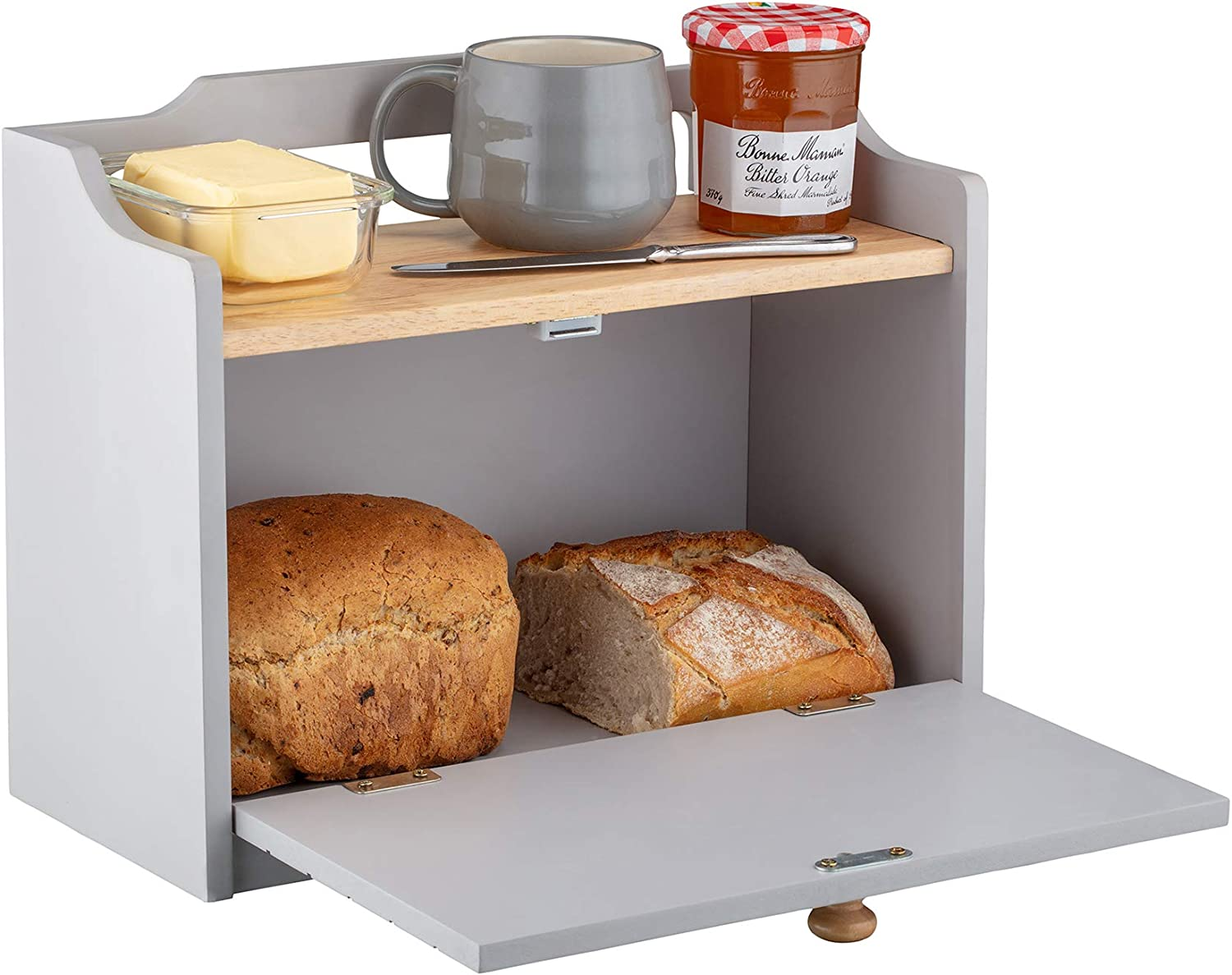 Country Kitchen Traditional Wooden Bread Bin Storage Freestanding with Shelf Grey