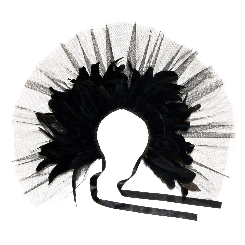 sigando Gothic Nat/ürliche Feder Cape Umschlagt/ücher Schal Halsband