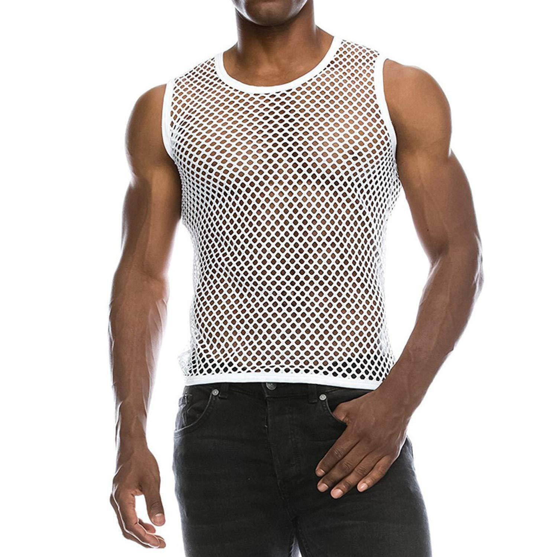 Bakiom 2019 Summer Tank Top Men Casual Black Network Pullover Tank Vest Mesh Casual Cool Tank Top Men White XXL United States