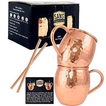 Amazon.com: Sans Juego de 2 Moscow Mule tazas de cobre y 2 ...
