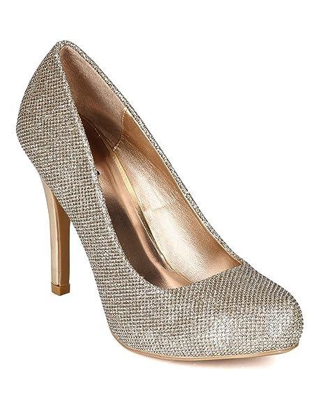 70589c62baed Qupid Women Glitter Leatherette Almond Toe Platform Patent Stiletto Heel  Pump BI13 - Champagne (Size