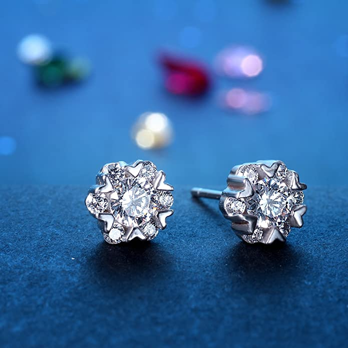 Stud Earrings Silver, ZMIKI 925 Sterling Silver Earrings for Women with Blue Crystal and White Cubic Zirconia Halo
