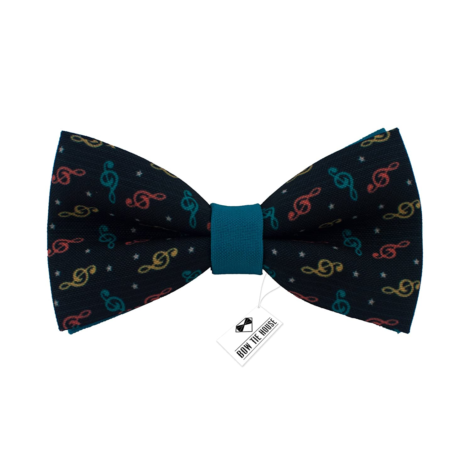Bow Tie House Musical bow ties pre-tied pattern in Many colors Medium, Notes Brown
