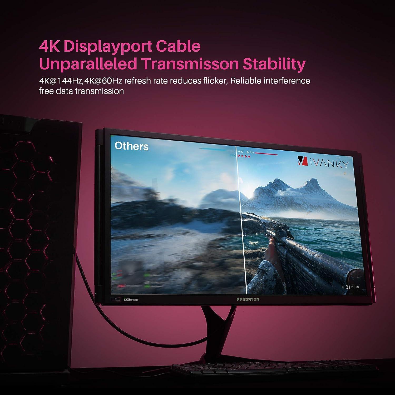 IVANKY Cable DisplayPort 1.4 2 Metros [8K@60Hz,4K@144Hz] Cable DP resolución UHD con 8 K, Soporte HBR3, DSC 1.2, HDR 10, Cable DisplayPort a DisplayPort para PC, Laptop, TV, Nylon Trenzado: Amazon.es: Electrónica
