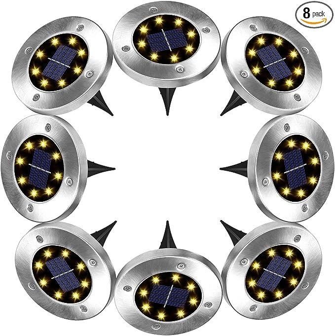 2//4//8 PCS Flowerbed Solar Ground Ball Lights LED Path Patio Garden Decking Lamp