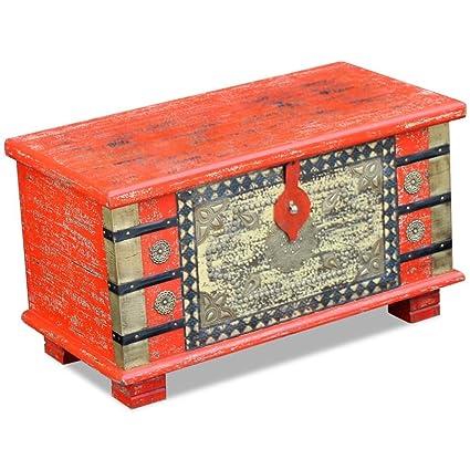 WEILANDEAL Baul de Almacenamiento Madera de Mango Rojo 80x40x45 cm Cajas de almacenajeHecho Completamente a Mano. Pasa ...