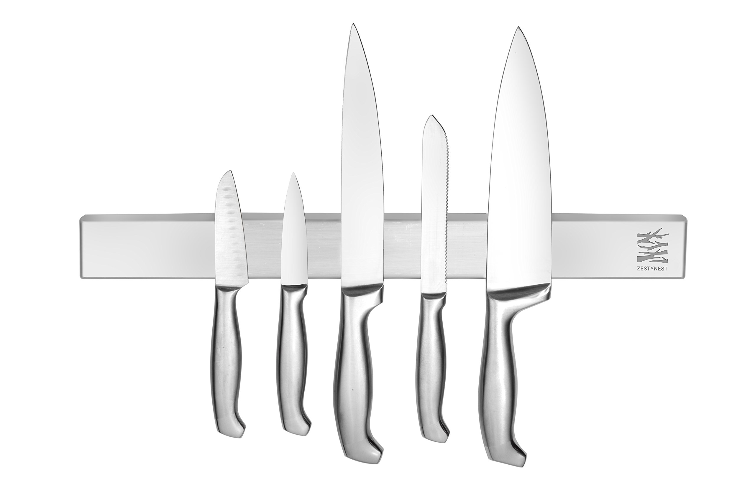 Magnet Block Knife Bar Holder - Strong Stainless Steel Magnetic Kitchen Strip Board For Holding and Organizing Knives on Wall by ZestyNest