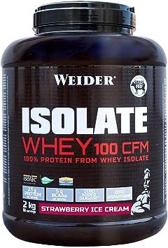 Weider Isolate Whey 100CFM 2000 gr Fresa. 100% aislado de proteina de suero. Cero azúcar, cero aspartamo, con stevia, con dygezime, con BCAA, apto ...
