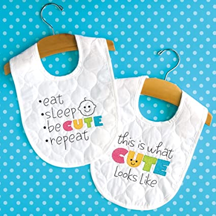 Dimensions Stamped Cross Stitch Kit Cute Diy White Baby Bibs 2 Pc 9
