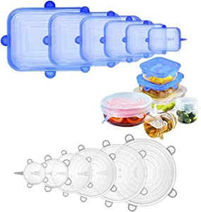 LENLE 12pcs Reusable Silicone Stretch Lids, Expandable Durable Rectangular Food Storage Covers for Bowls, Cups, Cans,Fits Various Sizes and Shape for Containers, Blue and White