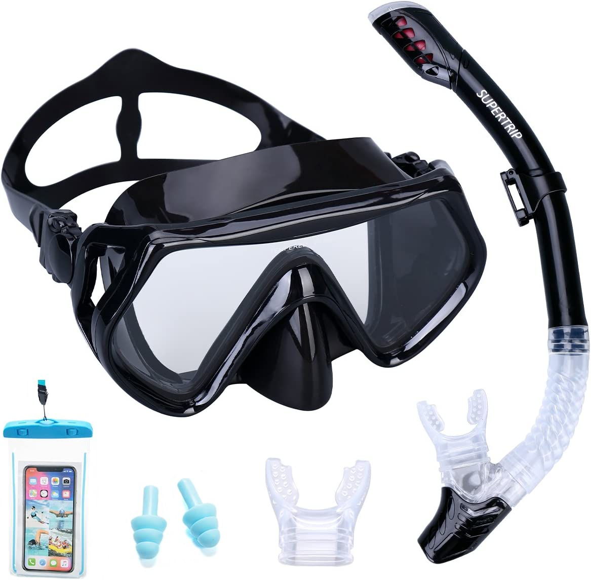 Supertrip Snorkel Set Adults-Anti-Fog Film Scuba Snorkeling Diving Mask with Impact Resistant Temperred Glass|Dry Top Snorkel, 2 Mouthpieces 1 Waterproof Case Included Black : Sports & Outdoors