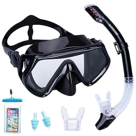 37364548d1 Supertrip Snorkel Set Adults-Anti-Fog Film Scuba Snorkeling Diving Mask  Impact Resistant Temperred