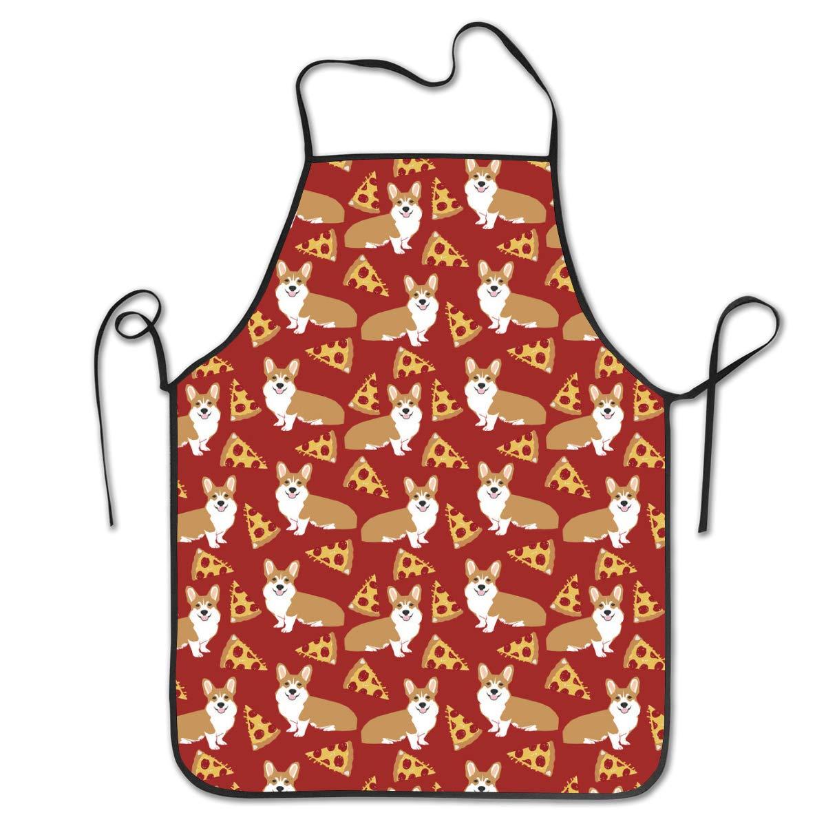 OKAYDECOR Kitchen Apron Corgi Junk Food Cute Dogs PizzasBib Aprons Women Men Professional Chef Aprons with Extra Long Ties/Waterproof Waiter Hostess Apron for Restaurant Baking