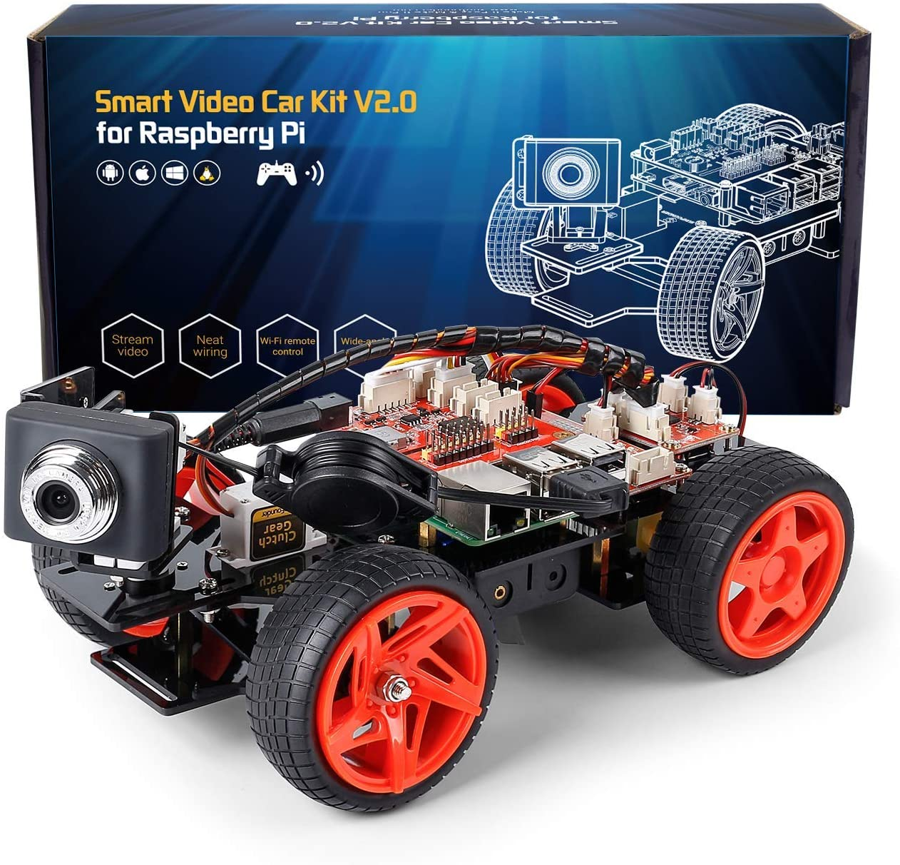 SunFounder Smart Video Car Kit V2.0 Raspberry Pi 4 Model B 3B+ 3B 2B Graphical Visual Programming Language,Video Transmission,Remote Control by UI on Windows Mac Web Browser with Detail Manual
